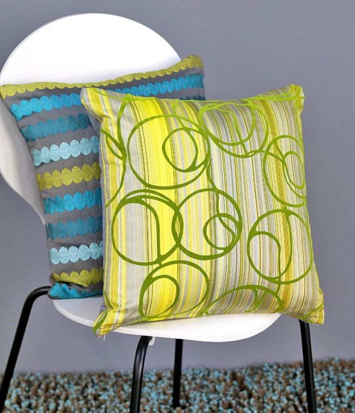Abstract design cushion cover in silver grey & lime green